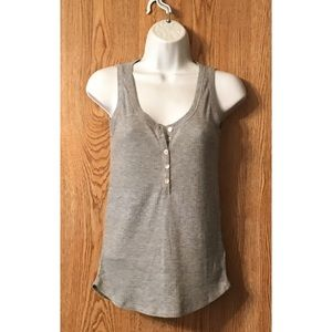 H&M Tank Top Rib Knit Gray Scoop Neck Buttons